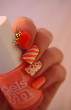 Orange nails for the British Nail Bloggers Colour Me Crazy nail art challenge. An ombre dotticure, some striping tape and a few neons thrown in for good measure. Inspired by IG's @JustJan26
