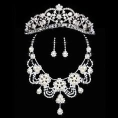 $18.63 Sweet Faux Pearl Embellished Flower Three-Piece Jewelry For Bride