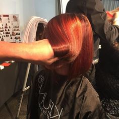 #mulpix Keune Semi Color 4.53 + Red Activator on base • Tinta 5.56RI + Mix Color 1gr 0/67 + 30vol alternated with Tinta 7.46RI +  Mix Color 1gr 0/44 40vol and Tinta Lift and Color 444 CCC + 30vol placed on open foils from mid shaft through ends throughout the entire head.  Dry Cut by @mike_karg at our Cut & Color Collaborative at the Keune Academy, Atlanta.   #HairColor  #HairColorist  #Colorist  #GeorgeAlderete