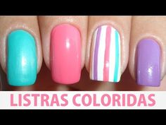 Unhas Decoradas - Listras Coloridas - YouTube