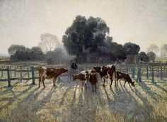 Elioth Gruner Spring Frost print for sale. Shop for Elioth Gruner Spring Frost painting and frame at discount price, ships in 24 hours. Google Art Project, Australian Painting, Australian Artists, Landscape Art, Landscape Paintings, Cow Art, Animal Paintings, Art Google, Les Oeuvres