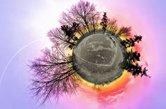 Picture the world as a tiny planet.