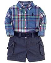 Ralph Lauren Baby Set, Baby Boys Plaid Oxford and Cargo Shorts