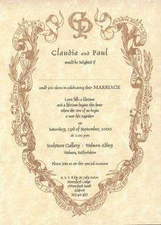 wedding invitation renaissance writing style | Wedding invitation interior in Renaissance style - LAUREL