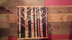 ASPEN TREES Tree Silhouette Art Image On Reclaimed Rustic WOOD Sign Ready To Hang Shelf Sitter Wall
