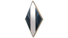 Black diamond mirror in straw marquetry and brass