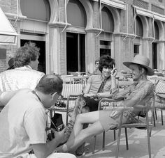 English musician Keith Richards and Anita Pallemberg during a shooting session outside the Excelsior Hotel, Lido, Venice, 1967.