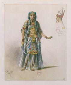 France, Paris, Costume sketch for Aida by Giuseppe Verdi