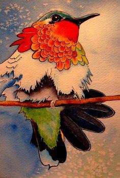 Hummingbird Illustration, Original Watercolor. Thanks for looking!