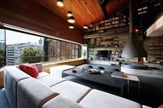 Explore The Ultimate Bachelor Pad Or How Dream Penthouses Are Designed! Exquisite living room of the penthouse loft in Istanbul Loft Design, House Design, Design Design, Creative Design, Architecture Design, Turkish Architecture, Rustic Contemporary, Modern Rustic, Modern Loft