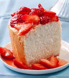 Orange Angel Food Cake with Strawberries Recipe NOTE: I might just try adding some orange zest to a boxed angel food cake mix.