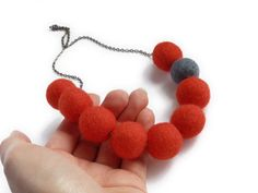 Orange Necklace - Deep Orange Felt Ball Necklace - Statement Necklace - Gray and Warm Red Jewelry - Chunky Necklaces. £15.00, via Etsy.