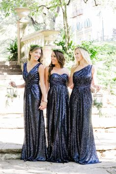 Bridal Style: Revelry - Affordable, Designer Quality Sequin Bridesmaid Dresses and Separates - Boho Weddings For the Boho Luxe Bride Metallic Bridesmaid Dresses, Sparkly Bridesmaids, Mismatched Bridesmaid Dresses, Navy Sequin Dress, Sequin Gown, Bridesmaid Ideas, Designer Wedding Dresses, The Dress, Special Occasion Dresses