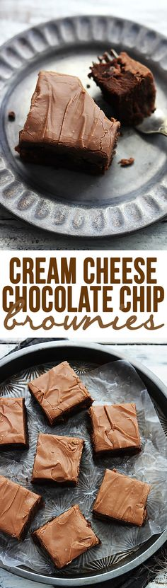 Cream cheese chocolate chip brownies - perfectly fudgey, chewy, and RICH cream cheese brownies with milk chocolate chips and chocolate cream… Brownie Desserts, Mini Desserts, Brownie Recipes, Chocolate Desserts, Just Desserts, Cookie Recipes, Delicious Desserts, Dessert Recipes, Bar Recipes