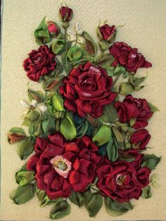 Red roses   Silk ribbon embroidery by SilkRibbonembroidery on Etsy, €80.00