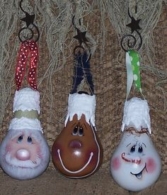 3 lightbulb ornaments - Santa, Gingerbread, Snowman