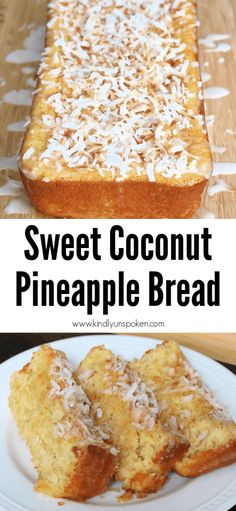 This easy coconut pineapple bread is sweet moist and so delicious This pineapple bread is made with a boxed cake mix crushed pineapple coconut and features a delicious sw. Pineapple Coconut Bread, Pinapple Cake, Pineapple Recipes, Pineapple Cake Mix Recipe, Crushed Pineapple Cake, Coconut Bread Recipe, Coconut Cakes, Cake Mix Desserts, Dessert Bread