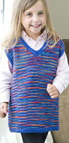 With its vibrant colors, Marilyn Murphy's Shadowy Vest is a great knitted option for both boys and girls.