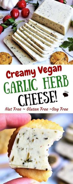 This garlic herb vegan cheese is perfect for slicing and eating on crackers. Made with coconut milk, it is dairy free, gluten free and nut free, anyone will enjoy this creamy and delicious vegan cheese. Make this into sliceable vegan cheese or into vegan cheese that melts! thehiddenveggies.com #vegancheese #coconutcheese #vegancheesenonuts #vegangarlicherbcheese