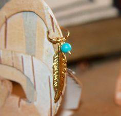 Feather Cartilage Earrings 14k Gold Filled Hoop by BirchBarkDesign