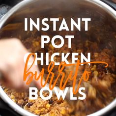 This literally comes together in less than 10 min prep and another 10 min in the pressure cooker. The chicken is so tender and the flavors are just unbelievable here! After this youll never want to make burrito bowls without your Instant Pot! Best Instant Pot Recipe, Instant Recipes, Instant Pot Dinner Recipes, Instant Pot Meals, Chicken Burrito Bowl, Chicken Burritos, Burrito Bowls, Taco Bowls, Slow Cooker Recipes