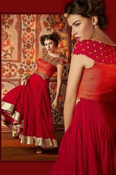 Code 34001  Ready Made Salwar Kameez, Colour Crimson, Fabric Net