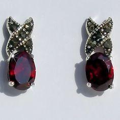 Great Earrings for January Birthstone & Valentine's Day (Marcasite & Garnet Hugs-n-Kisses Post Earrings) $22