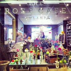 Shop window display of the Rose Cafe in Newlands #flowers #shopping #displays