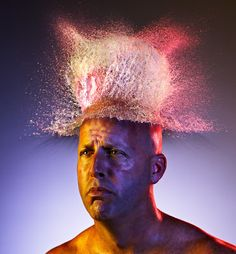 """Tim Tadder Photography - Water Wings.  """"Water Wigs is a dynamic set of images using exploding shaped water balloons lit with a triad of colors, to create incredible splashes on the heads of bald men and women. The result is interesting and arresting """"wigs"""" of water. Enjoy!"""" -Tim Tadder  #tim #tadder #photography #water #wings #effects #models #baloons #hair"""