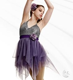 Curtain Call Costumes® - Flowing Top front lined nylon/spandex boy short leotard with sequin poly/spandex bodice overlay, binding and flower trim, and attached tricot scarf skirt. INCLUDES: flower barrette. https://curtaincallcostumes.com/products/product-page-t.php?prodid=7584