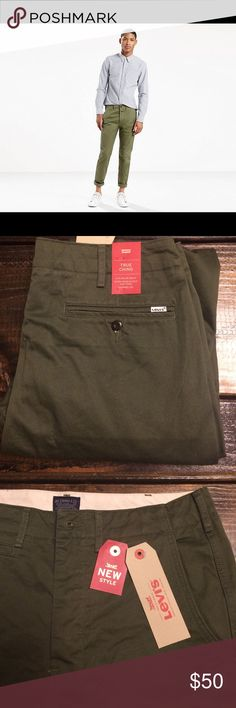 Men's Levi True Chino NWT Brand new pair of men's Levi's True Chinos In Olive. Hidden button-fly instead of zipper (pictured). Sits below waist, tapered leg. 100% cotton. 32/32 Levi's Pants Chinos & Khakis