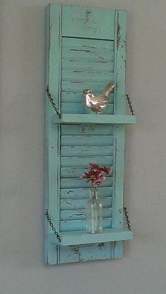 Shabby Chic Aqua Robin's Egg Blue Unique White Wood Shutter Shelf Rustic Wall Decor Country Primitive