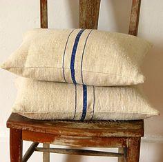 Vintage Grainsack Pillow Blue Stripes