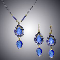 Blue Quartz and Diamond Set by Judy Bliss: Gold & Stone Jewelry available at www.artfulhome.com
