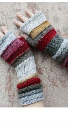 Wrap shawl Chunky infinity scarf Autumn boho neck wrap Striped fall scarf boho Scarf gift for wife wedding bridesmaid cape Snood scarf Flea Market Unmatched Hand Knit Wrist Warmers Fingerless Mittens in upcycled wool and kid mohair Hand Knitting, Knitting Patterns, Crochet Patterns, Knitting Scarves, Knitting Machine, Hat Patterns, Knitting Ideas, Fingerless Mittens, Knit Mittens