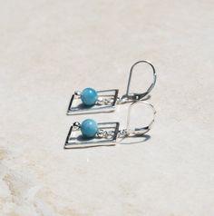 Handmade Silver and Larimar Earrings. silver by KarmaKittyJewelry