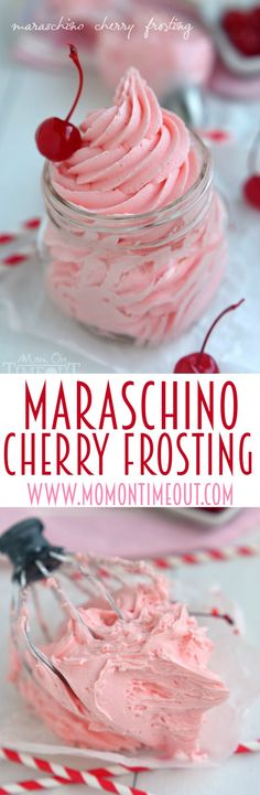 Maraschino Cherry Frosting ~ Don't let the juice from your maraschino cherry jar go to waste. Make this deliciously gorgeous Maraschino Cherry Frosting instead! Perfect on cupcakes, cookies, cake and more! Cupcake Recipes, Cupcake Cakes, Dessert Recipes, Icing Recipes, Homemade Frosting Recipes, Nutella Recipes, Homemade Breads, Mini Cakes, Cookie Recipes
