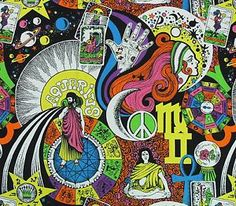 Hippie Art From the 60s | ... 60S/70S ASTROLOGY ZODIAC PSYCHEDELIC POP ART HIPPIE MOD COTTON FABRIC