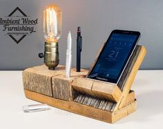 Barn Wood Bedside Utility Storage Lamp With Pipe Stand Electronic Docking Station