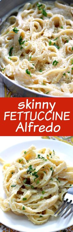 Skinny Fettuccine Alfredo Recipe - healthy version of the restaurant classic. So easy and unbelievably delicious this guilt free pasta dish is perfect for buys week nights and special occasions!