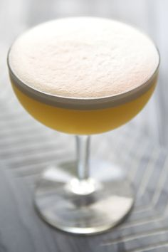 Maple Bacon Pisco Sour: bacon fat-washed pisco, lemon, maple syrup, egg white, Angostura bitters