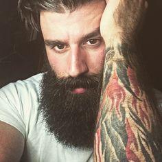 Gregory Vizina - full thick bushy black beard bearded man men tattoos tattooed handsome #beardsforever