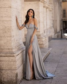 Carina - Sky Blue One-Shoulder Satin Gown with Slit & Cut-Out Detail Satin Gown, Satin Dresses, Elegant Dresses, Pretty Dresses, Beautiful Dresses, Zac Efron, White Off Shoulder Dress, Gown With Slit, Looks Party