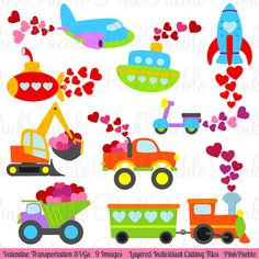 Awesome Valentine Transportation SVGs Valentine us Day SVG von PinkPueblo