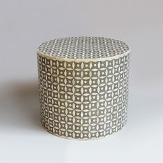 Modern Round Bone Inlay Side Table Or Stool With Cement Grey Ground Color.