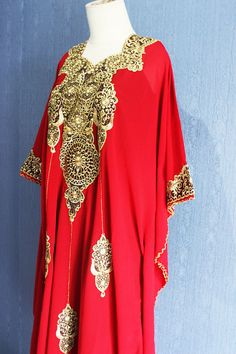 Very Fancy Chiffon Caftan Moroccan with Gold Embroidery detailed. ✿ The fabric is made of Polyester Top Quality ✿ The Caftan is high quality sheer chiffon