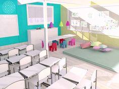 Revitalização de Escola | Tijolinhos aparentes são naturalmente lindos! A parede de tijolos existente foi reaproveitada e, apenas pintada. Com cores claras e estimulantes, os ambientes dessa escola ganharam mais luz e vida. Os móveis existentes foram reformados e reutilizados.