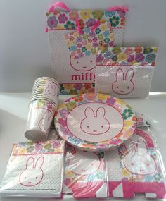Miffy Party Set with Plates Cups Napkins Favor Boxes and Gift Bag | eBay