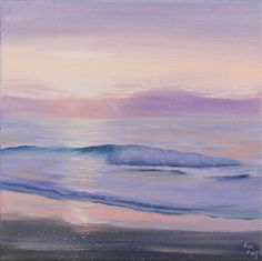"Original Coastal Painting, Ocean Wave Painting, Beach Art, Lavender Small Oil on Canvas Artwork, Seascape, Sunset Painting, Landscape, Ready to Hang, Dreaming in the Colors of the Sea 12x12"". Medium size original ocean painting ""Dreaming in Colors of the Sea"", oil on stretched canvas 12x12 inches, was inspired by the beautiful sunrises at the Lake Erie, Ohio • Fresh, luminous fine details, flickering light, the cast shadows and stunning aerial perspectives make my realistic seascapes so..."