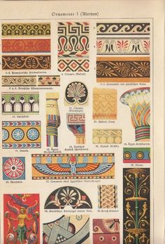 1899 ORNAMENTE * 4 Original Drucke Farbdrucke / 4 Antique Prints * Dekoration
